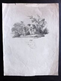 Anon C1830 Classical Engraving. Lady with Cherubs